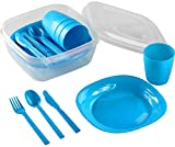 Kigima Camping Set for 4 Persons with Plates, Cups and Cutlery Blue