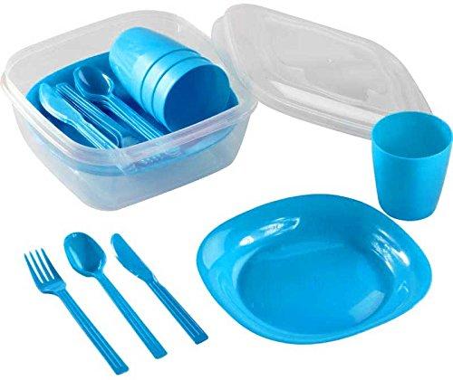 Kigima Campingset für 4 Personen mit Teller, Trinkbecher und Besteck blau