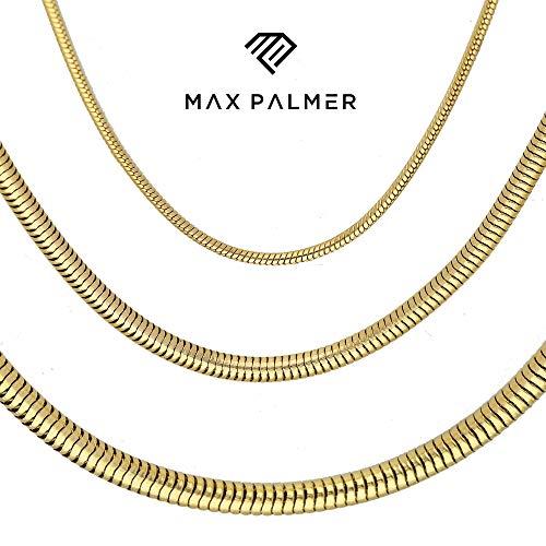 Max Palmer Schlangenkette Edelstahl Gold - [74.] Dicke: 2,5mm - Länge: 55cm - 55 Fett