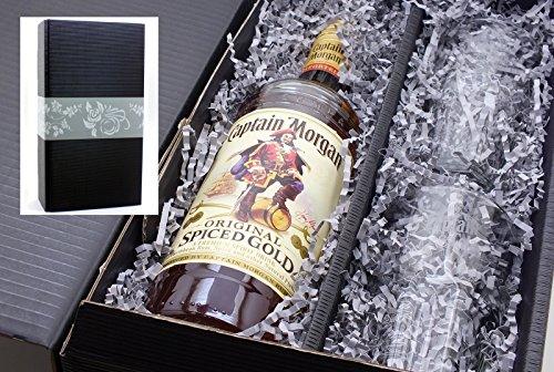einglas24 mit Captain Morgan spiced Gold Rum 35% 0,7l und 2 original Captain Morgan Longdrink Gläser ()