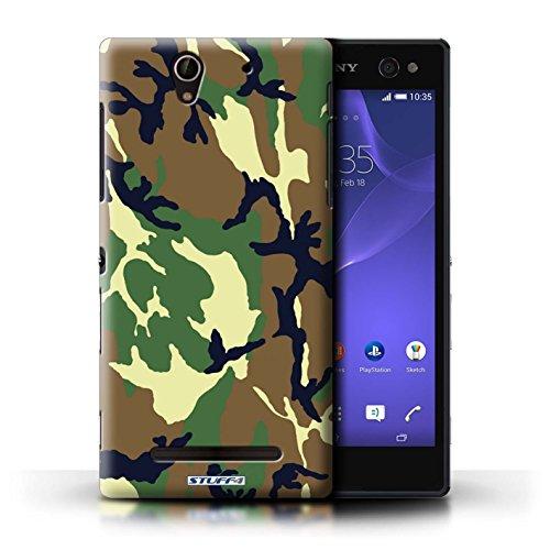 Kobalt® Imprimé Etui / Coque pour Sony Xperia C3 / Rose 1 conception / Série Armée/Camouflage Vert 4