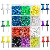 Lot de 600 punaises à punaises 12 couleurs assorties Push Pins pour carte de campagnement, tableau de bord, punaises, punaises