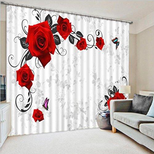 Rote Rose Print Luxus 3D Fenster Vorhänge Für Wohnzimmer Schlafzimmer Vorhänge Büro Hotel Wandteppich Multi-size ( Size : 3.2x2.7M ) (Wandteppiche Wandteppiche Rot)
