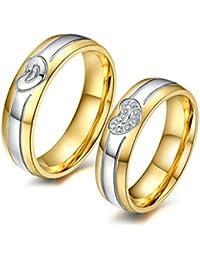 Bishilin 2 PCS Anillo de Acero Inoxidable para Él y Su Corazón Amor con Zirconia Ronda  Anillo Oro Plata Promesa para Mujeres Hombres