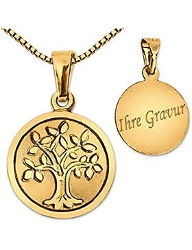 CLEVER SCHMUCK-GRAVUR-SET Goldener Anhänger Lebensbaum Ø 12 mm geschlossen matt mit Baum glänzend + Rückseite...