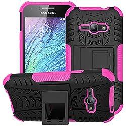 Coque Samsung Galaxy J1 ACE/J110 Coque Antichoc 360 Coin Intégral Full Protection Anti-Rayures,2in1 TPU Cover Case Dorsale Étui Housse Compatible Samsung J1 ACE- Rose Rouge +3D Verre trempé