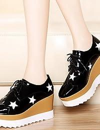 ZQ hug Zapatos de mujer - Plataforma - Cuñas / Tacones / Plataforma / Punta Redonda - Tacones - Oficina y Trabajo / Vestido / Casual - Semicuero , gray-us7.5 / eu38 / uk5.5 / cn38 , gray-us7.5 / eu38