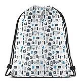 Juziwen Printed Drawstring Backpacks Bags,Journalism Mass Media Communication Theme Icons Press TV News,Adjustable String Closure