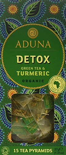 Aduna Detox African Super-Tea With Organic African Green Tea & Turmeric - 15 Pyramid Sachets (Pack of 3)