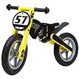 Bicicleta sin pedales Bici Bici de Equilibrio Rosa/Amarillo de Madera para niño/niña, Bicicletas de Empuje para niños con neumático de Goma y Asiento Ajustable (Color : Amarillo)