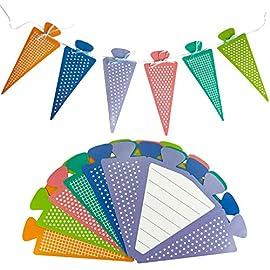 Oblique-Unique-6X-Zuckertte-als-Einladungskarten-oder-Girlande-fr-Schuleinfhrung-Schulanfang-Einschulung-Schulbeginn-Einladungen-mit-beschreibbarer-Innenseite