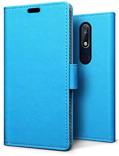 SLEO Hülle für Nokia 7.1 Hülle–PU lederhülle [Vollständigen Schutz] [Kreditkartenfach] Flip Brieftasche Schutzhülle im Bookstyle für Nokia 7.1 - Blau