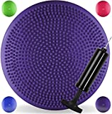 JLL® Inflatable Air Stability Balance Wobble Cushion with Pump Available in 4 colours: blue, purple, green or hot pink