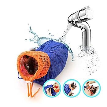 Réglable en polyester Mesh Pet Grooming lavage de sac de bain Sac de coupe respirant ongles Biting résisté à la baignade Injection Examiner ongles Trimming (Rose)