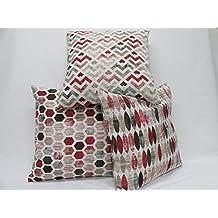 Fundas cojin 3 Uds. Ref. Geometric color Rojo 45 x 45 sin rellenos, tejido loneta estampada