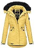 Navahoo Damen Winter Jacke Parka Teddyfell Winterjacke Kunstfell Mantel B615 [B615-Schatz-Gelb-Gr.M]
