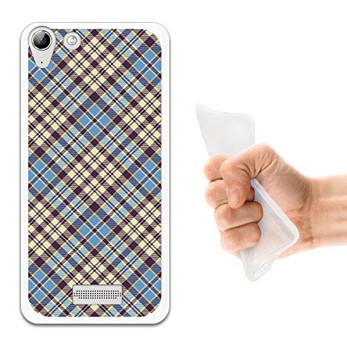 WoowCase Wiko Selfy 4G Hülle, Handyhülle Silikon für [ Wiko Selfy 4G ] Blue schottenkaro Material Handytasche Handy Cover Case Schutzhülle Flexible TPU - Transparent