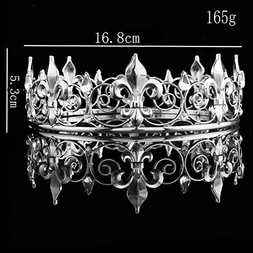 Queen Krone Der Männer, Kristall Volle Runde Königskrone Zum Erwachsene Prom Feier-Party Hüte Kostüm Kopfbedeckung,White