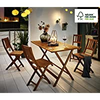 SAM® Conjunto para jardín o balcón Costas, mueble de madera de acacia, 5 piezas, 1 mesa + 4 sillas aceitadas, madera maciza certificada FSC® 100%