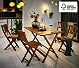 SAM® Conjunto para jardín o balcón Costas, mueble de madera de acacia, 5 piezas, 1 mesa + 4 sillas...