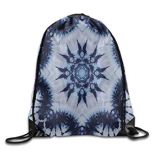 Naiyin Unisex Drawstring Backpack, Indian Floral Mandala Form with Digital Folded Radiant Forms Boho Drawstring Gym Sack Sport Bag
