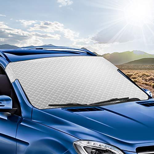 Tsumbay Couverture Pare-Brise Voiture Bache Pare-Soleil Auto Protection Repliable Anti UV/Chaleur Double Couche Anti Givre/Pluie/Neige/Feuille Compatible pour Voiture SUV etc. - 148x100cm