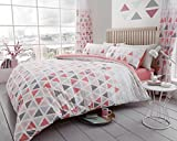 Gaveno Cavailia Geo Triangle Luxurious Designer Duvet Covers Quilt Covers Reversible Bedding Sets with Pillowcases All Sizes (Pink, Double Complete Set)