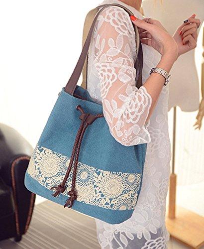 Longzibog Dual verstellbare Schultergurte und Hängeschlaufenband Mode Simple Style Fashion Tote Top Handle Schulter Umhängetasche Satchel See blau