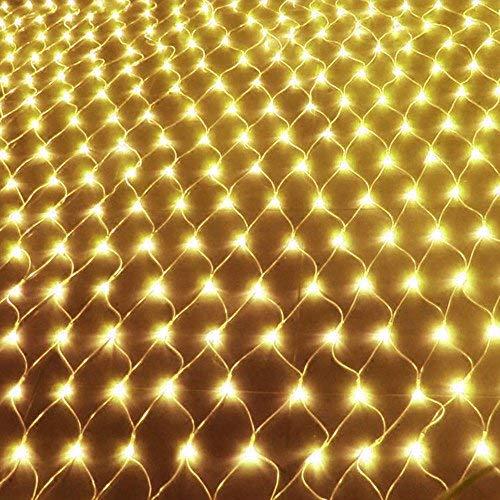 AUFUN LED Lichternetz 3 x 2 m Vorhang Lichter Netz Beleuchtung Deko Weihnachten Net lights Halloween, Hochzeit, Party oder Stimmung Lichter 320LEDs Warmweiß