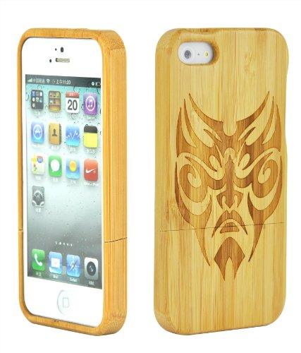 SunSmart Einzigartige handgefertigte Bambus harten Holz Case für das iPhone 5 5S (ein Stück) Peking opera mask