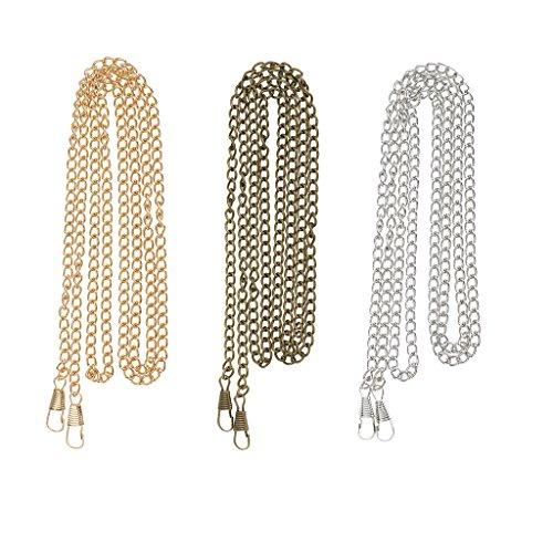 Sharplace 3 Stücke 3 Farben Riemen Metall Schulter Riemen Damen Handtasche /Umhängetasche / Tasche Geldbörse Glänzende Metallkette