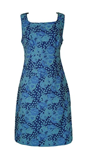 Pepperberry Ex Turquoise Blue Fully Lined Floral Summer Tea Dress (12 Really Curvy)