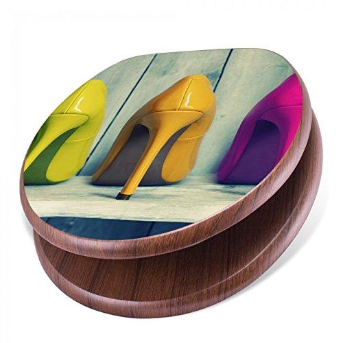 BANJADO Design Toilettensitz mit Absenkautomatik, WC-Sitz Holz, Klodeckel mit Metall Scharnieren, Toilettendeckel mit Motiv Pumps