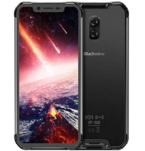 Blackview BV9600 Pro Smartphone Débloqué 4G LTE (2019) avec Écran Ultra-étroits AMOLED FHD 19:9, Processeur Helio P60 6Go + 128Go, Étanche et Antipoussière IP68 / IP69K - Noir