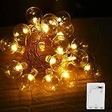 Vegena Led Lichterkette,2M 20 LED Lichterketten Lichterkette Gluehbirne Batteriebetrieben mit Led Kugel Wasserdicht IP55 für Innen, Weihnachten, Außen, Party, Hochzeit, usw Warmweiß (Transparente)