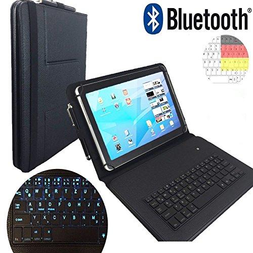 Preisvergleich Produktbild LED Qwertz Tastatur Hülle für Huawei MediaPad M5 27, 43 cm (10, 8 Zoll) - PU Tasche mit LED Tasten - Bluetooth kabellos - Schwarz LT1