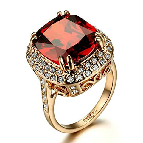 Yoursfs Princess Cut Ruby Burgundy Red Crystal Statement Rings for Women Big Stone Ring 18ct Rose Gold Plated Fashion