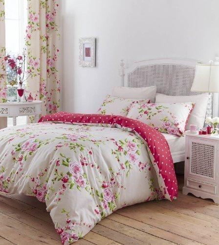 Bettwäsche Herrliche Baumwolle Einzel Rot Rosa Rosen Blumenmuster Wendbare Shabby Chic Bettbezug Set thumbnail