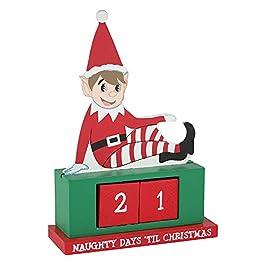 eBuyGB Natale Riutilizzabile Fai da Te Countdown, Legno, Calendario dell'Avvento degli Elfi, W