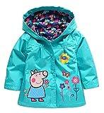 #1: Cartoon Peppa Pig Flower Baby Girls Kids Rain Coat Jacket Coat Hoodie Outwear 3-4T Blue