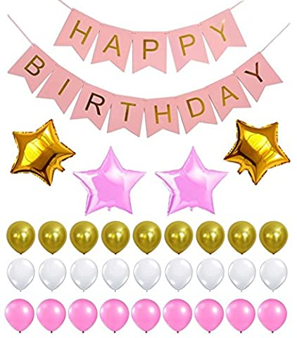 Perfect Happy Birthday Decoration Set, Reusable Banner, Latex & Mylar Star Balloons, Gold, Pink & White Theme, Great Party Supplies for Princess, First, 2nd, 3rd, 5th, 7th, Girl, Boy or any
