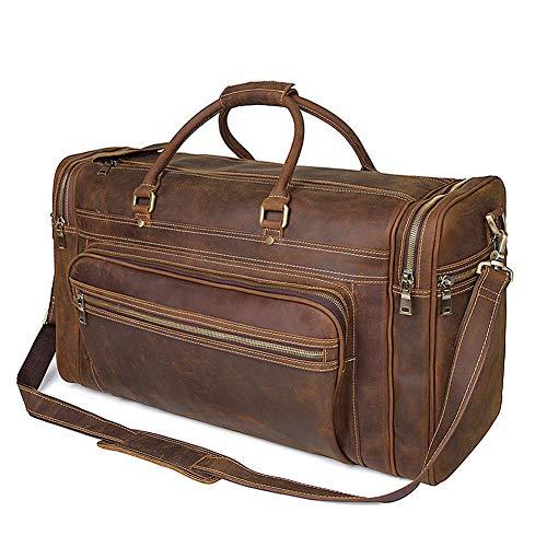 Herren Große Leder Reisetasche Duffle Bag - Vintage Wochenende Tasche Reisetasche Handgepäck - Sport Schulter Handtasche Tasche - Braun 60X24x35cm - Leder Duffle