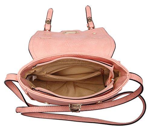 Big Handbag Shop, piccola fibbia effetto patta Maniglia Superiore Borsa Chic Hot Pink (GU331)