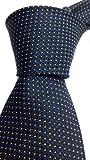 #8: Blacksmith Slim Navy Blue Polka Dot Formal Tie for Men - Navy Blue Jacquard Necktie for Men - Blue Formal Ties for Men