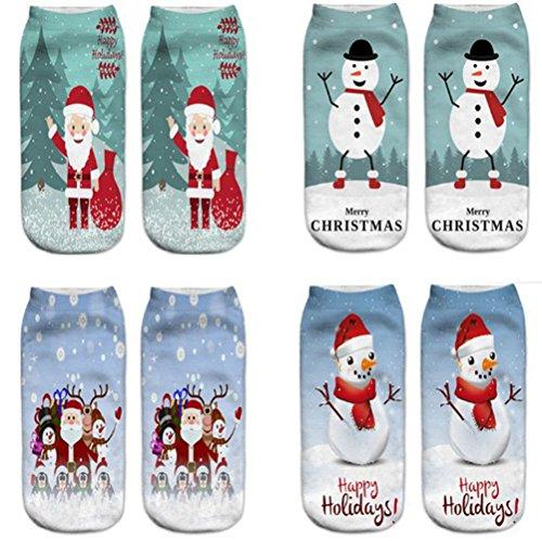 doutree Frauen Mädchen 3D Crazy Funny Santa Claus Socken (4Paar), 1-type (Crew-4 Paar Pack)