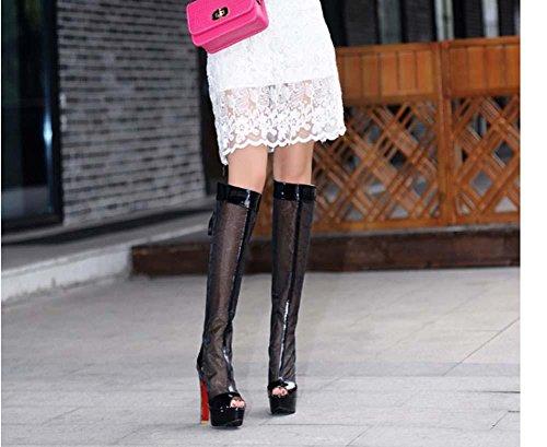 NobS Filati ginocchio high net Stivali Sandali Large Size 40-43 peep toe Tacchi alti pattini delle donne Black
