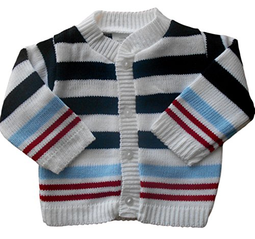 0-3 months - Baby Boys Gorgeous Blue White and Red Striped Knitted Cardigan