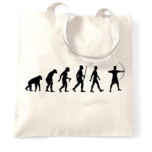 Tiro Con LArco Sacchetto Di Tote Evoluzione di Tiro con larco divertente Darwin Parodia Hobby Sport White