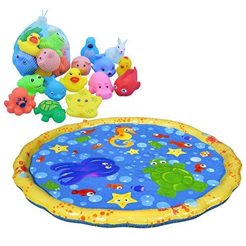 Amitas Wasserspielmatte Spielmatte Baby Wasser - Wassermatte Baby Wasserspray Spielmatte Badespielzeug für Kinder Aktivitätscenter (B)