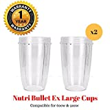 TopSpareParts® REPLACEMENT 32OZ LARGE CUP (SET OF 2) COMPATIBLE FOR MAGIC NUTRIBULLET 600 / 900 SERIES   32OZ. Replacement Part Juicer Accessory Clear Cup Mug.